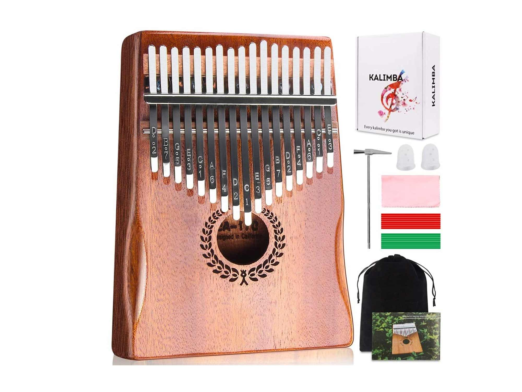 Kalimba 17 Keys Thumb Piano, Easy to Learn Portable Musical Instrument Gifts for Kids Adult Beginners with Tuning Hammer and Study Instruction