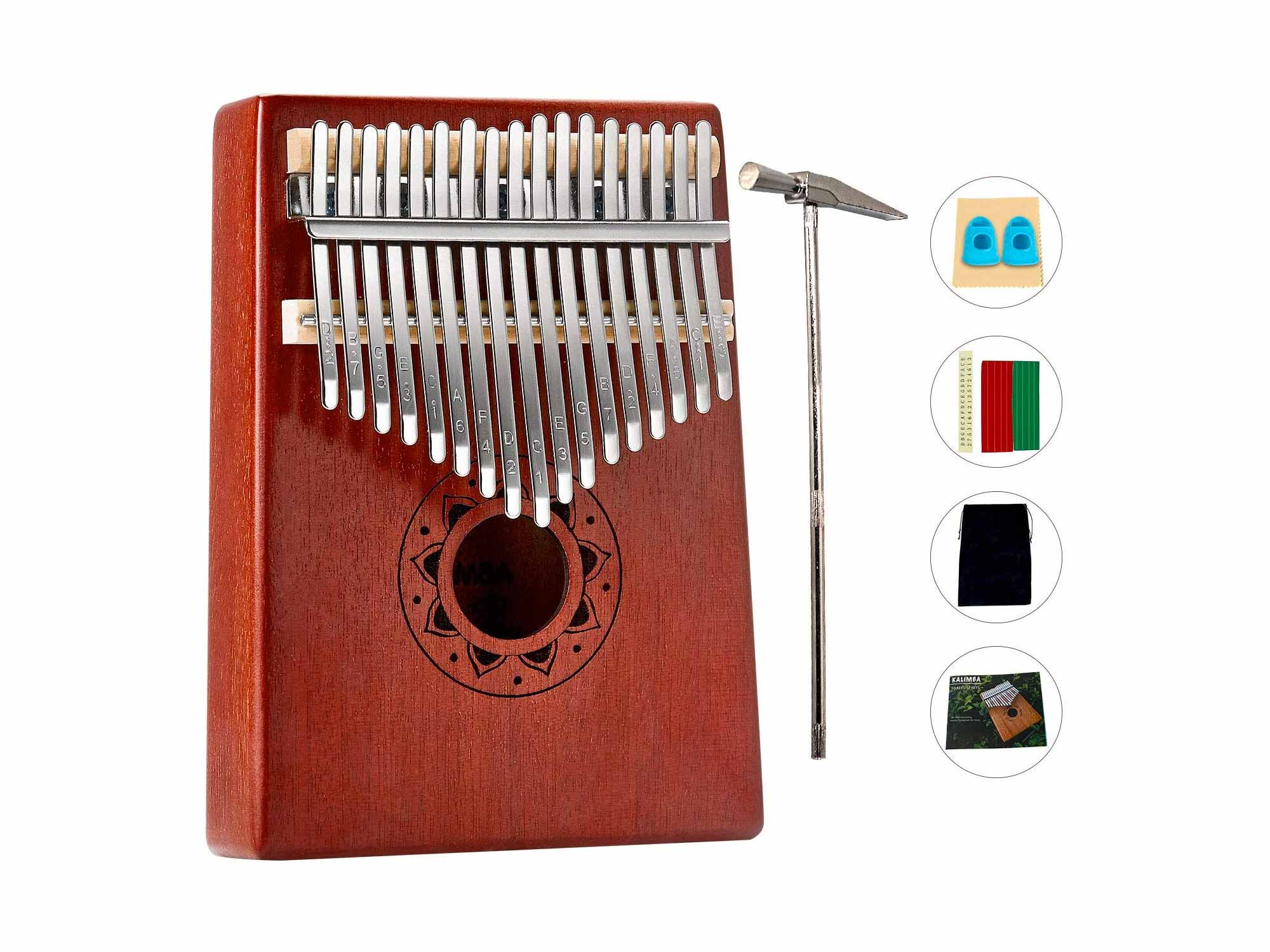 Kalimba 17 Keys Thumb Piano,Portable Wood Finger Piano With Tune Hammer Instruction Book Accessory,Music Instrument Gift For Beginners Kids Adult