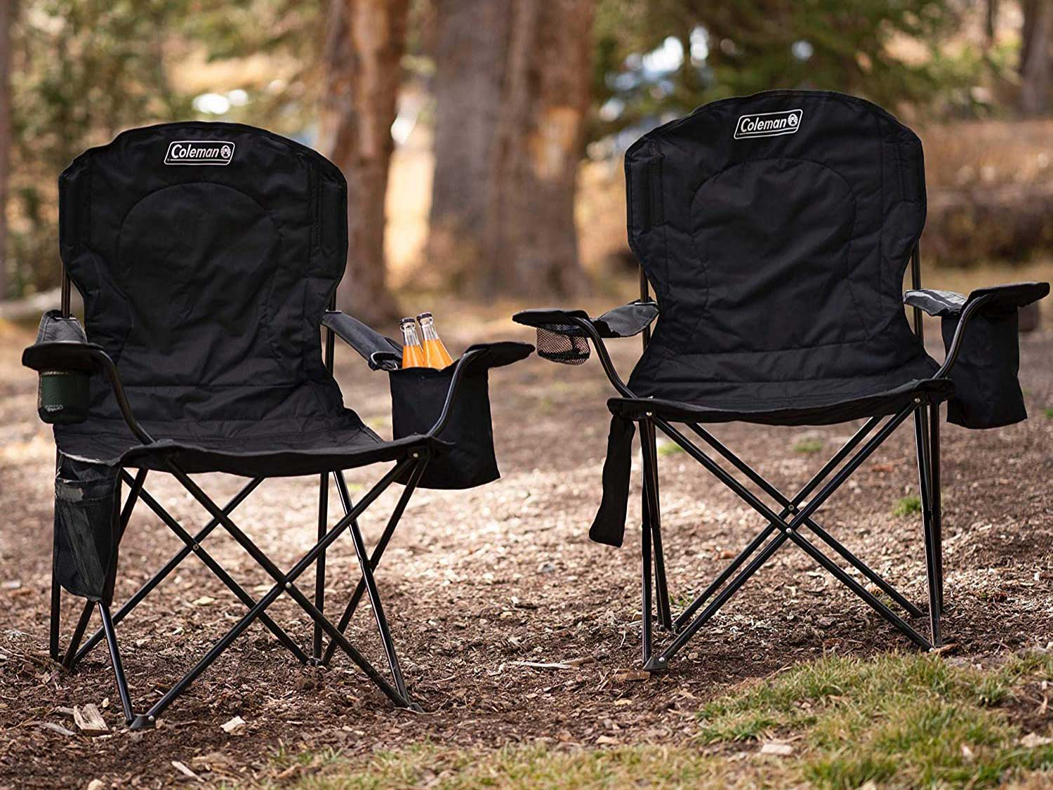 Two camp chairs in the woods