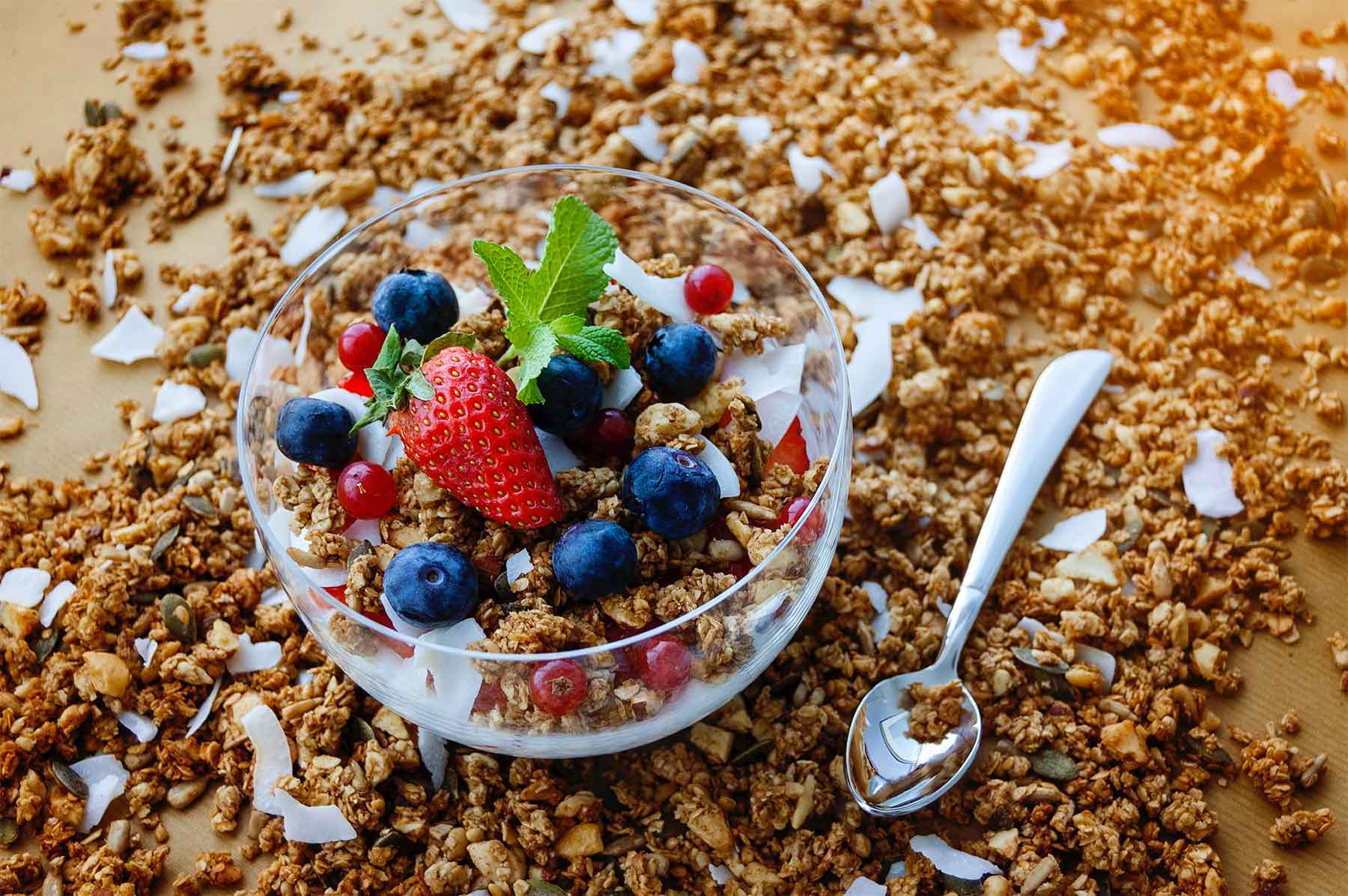 Bowl of granola with fresh berries