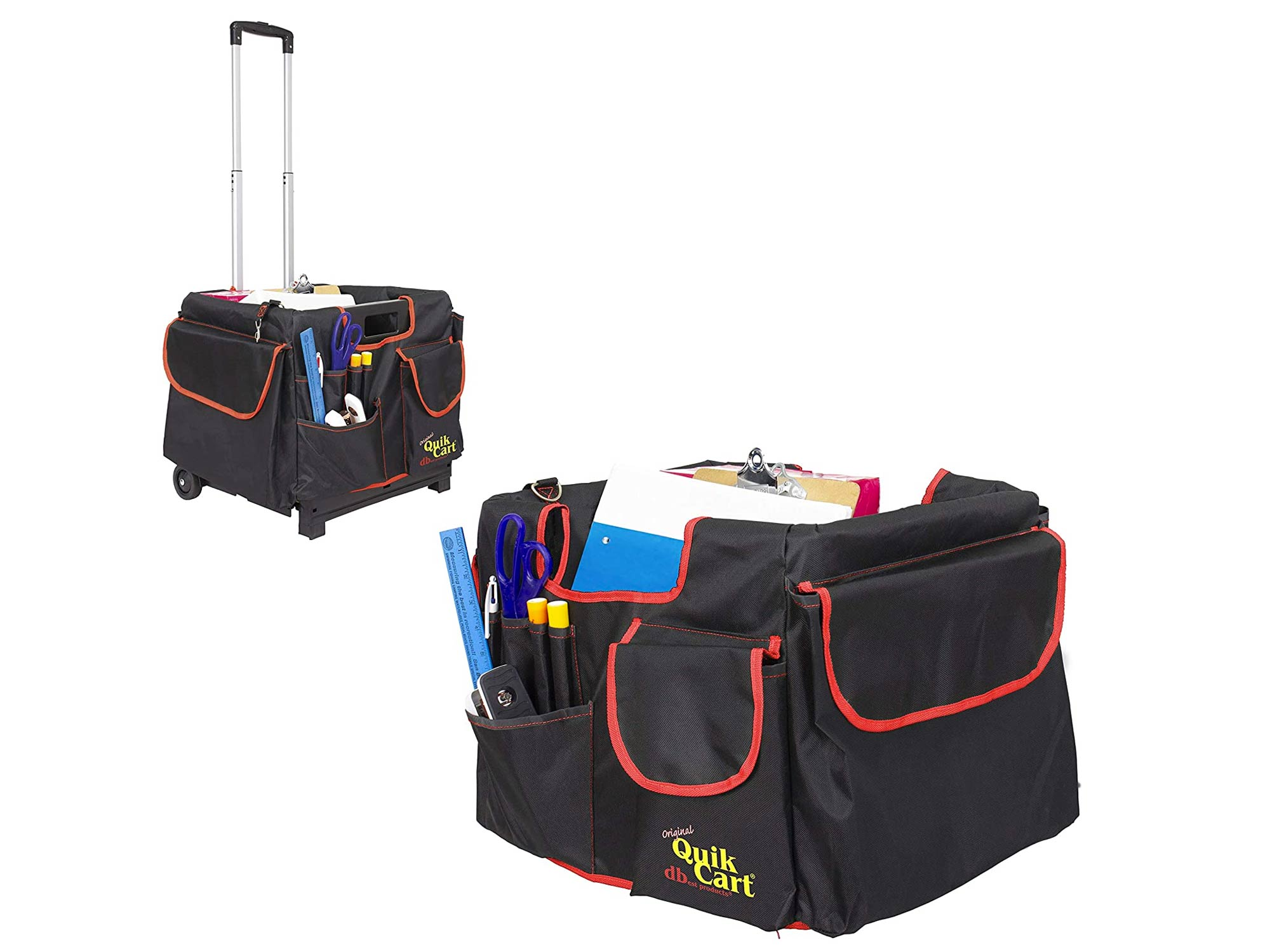 dbest products Quik Cart Pockets Bundle Caddy Organizer Teacher Tote Rolling Crate