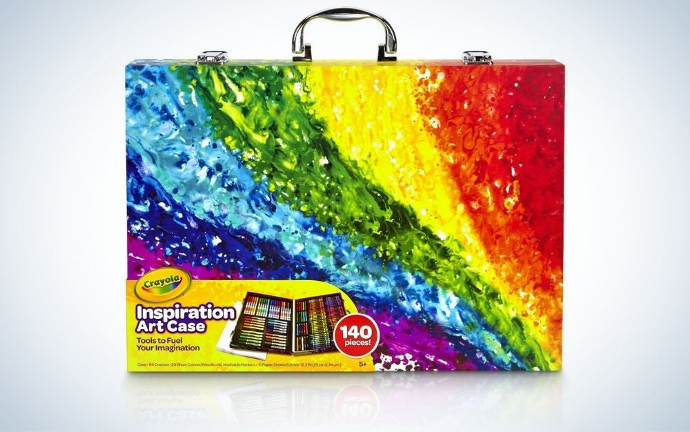 Art set with 140 supplies in a colorful case