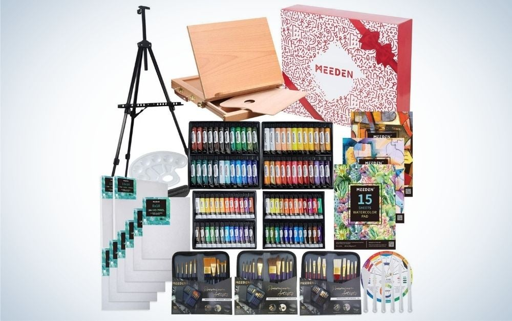 Deluxe art painting set with aluminum and beech wood easel , canvas, and different accessories