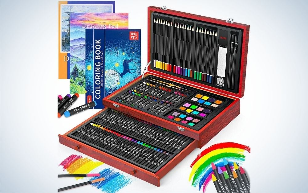 Wooden art set crafts drawing painting kit with 1 coloring book, 2 sketch pads, and creative gift box