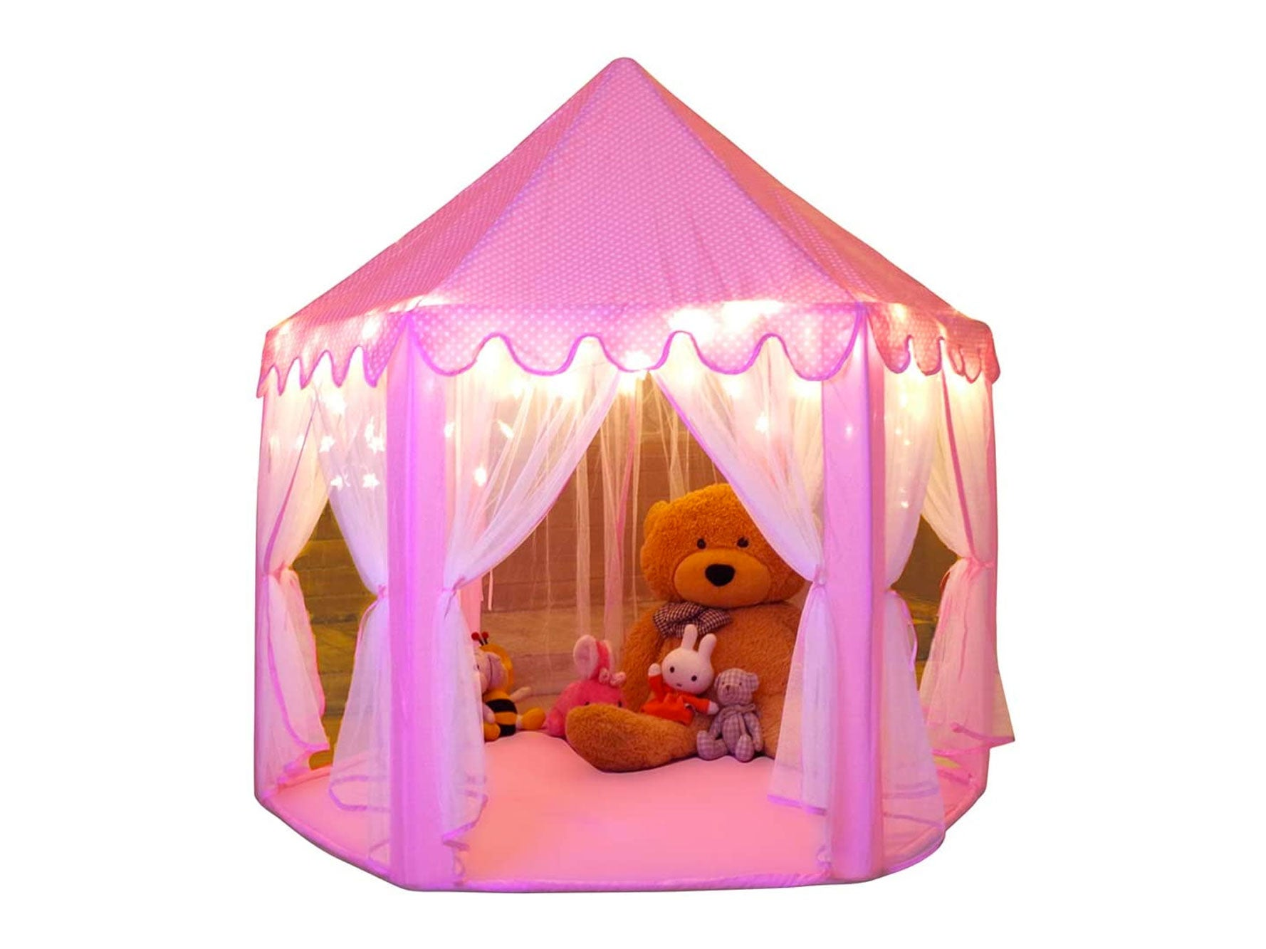 Monobeach Princess Tent Girls Large Playhouse Kids Castle Play Tent with Star Lights
