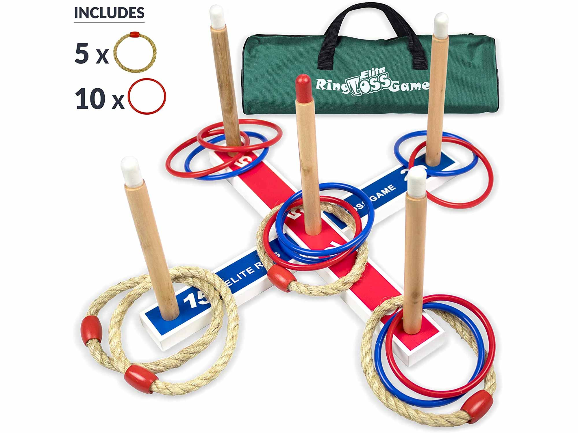 Elite Outdoor Games For Kids - Ring Toss Yard Games for Adults and Family