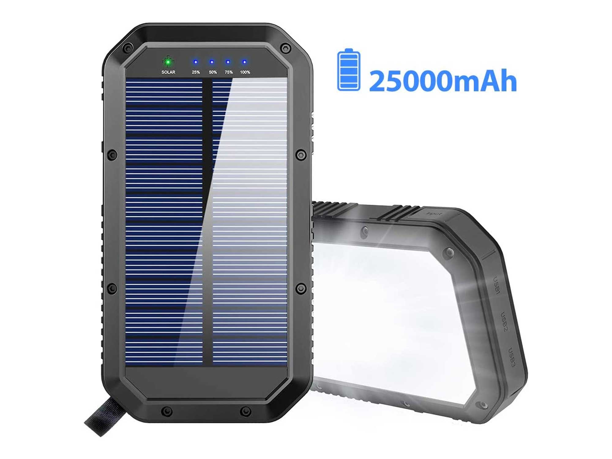 Solar Charger, 25000mAh Battery Solar Power Bank Portable Panel Charger with 36 LEDs and 3 USB Output Ports External Backup Battery for Camping