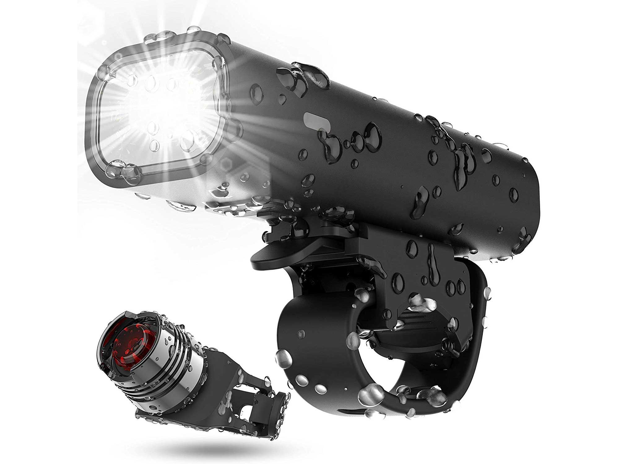 USB Rechargeable Bike Light Set, Runtime 8+ Hours 400 Lumen Super Bright Headlight Front Lights and Back Rear