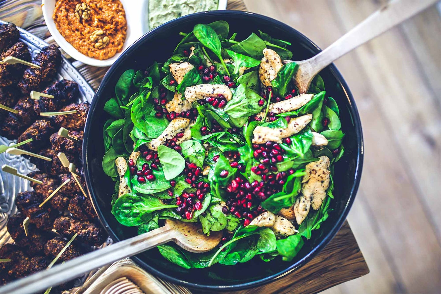 Healthy spinach and pomegranate salad