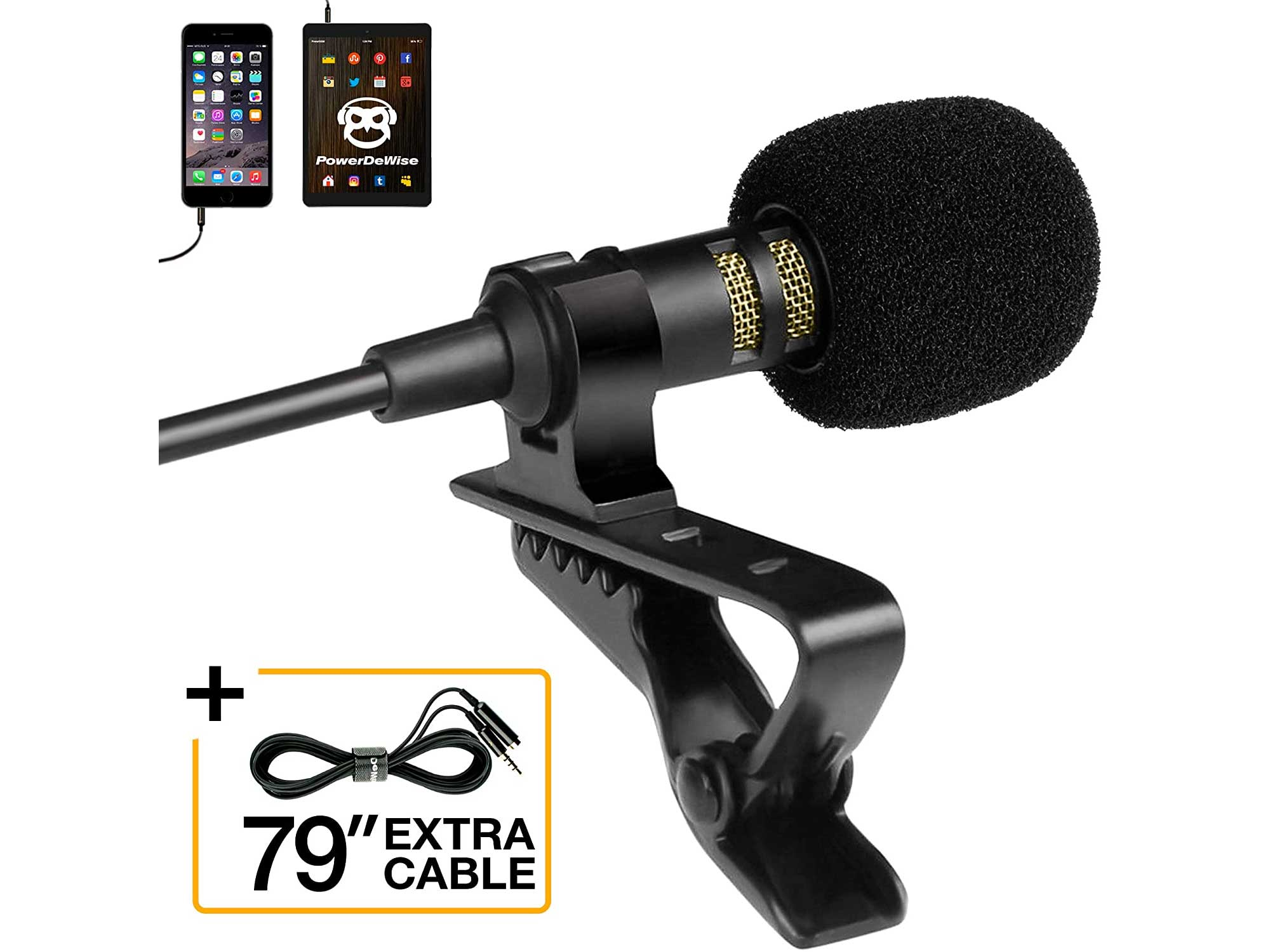 Professional Grade Lavalier Lapel Microphone Omnidirectional Mic with Easy Clip On System Perfect for Recording Youtube