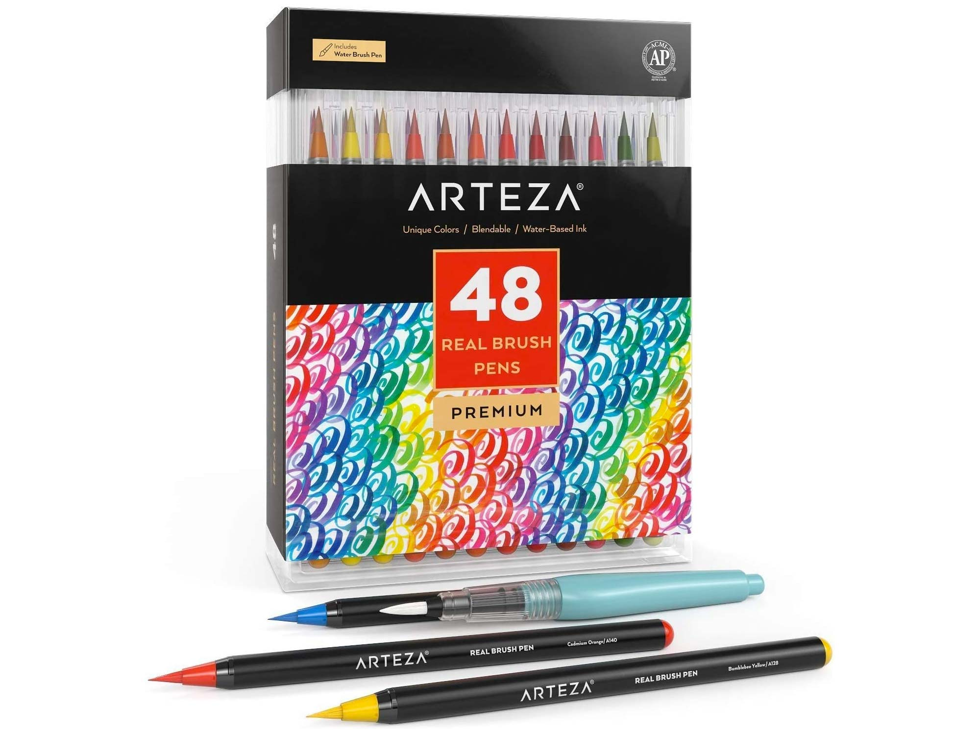 Arteza Real Brush Pens, 48 Colors for Watercolor Painting with Flexible Nylon Brush Tips