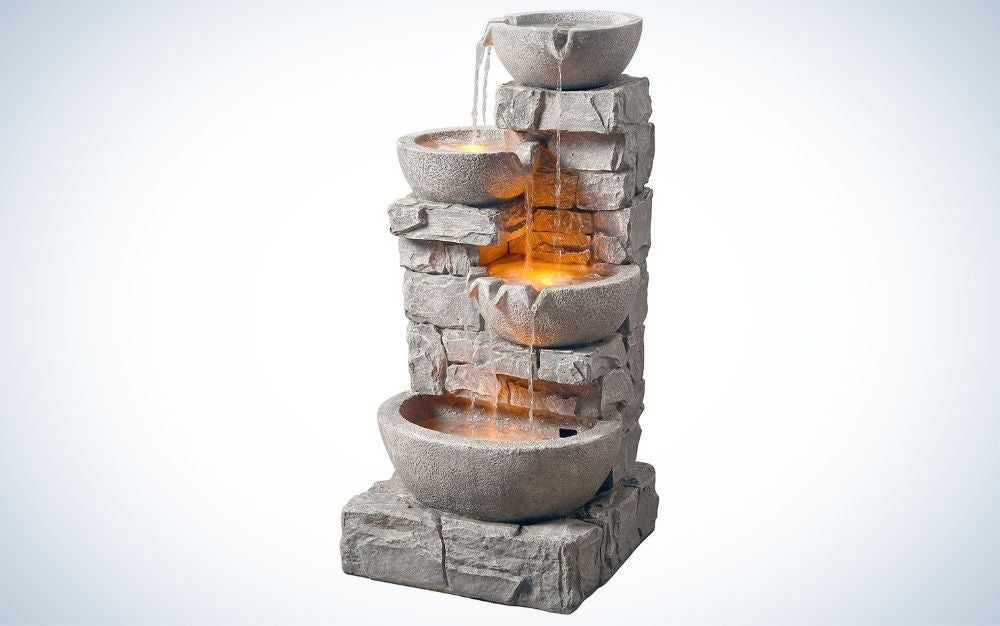 The Peaktop 201601PT Water 4 Tiered Bowls Waterfall Fountain is the best outdoor.