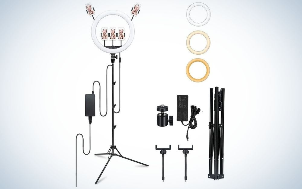 """Godox LR150 18"""" LED Ring Light with 78"""" extendable tripod stand is best for studio work."""