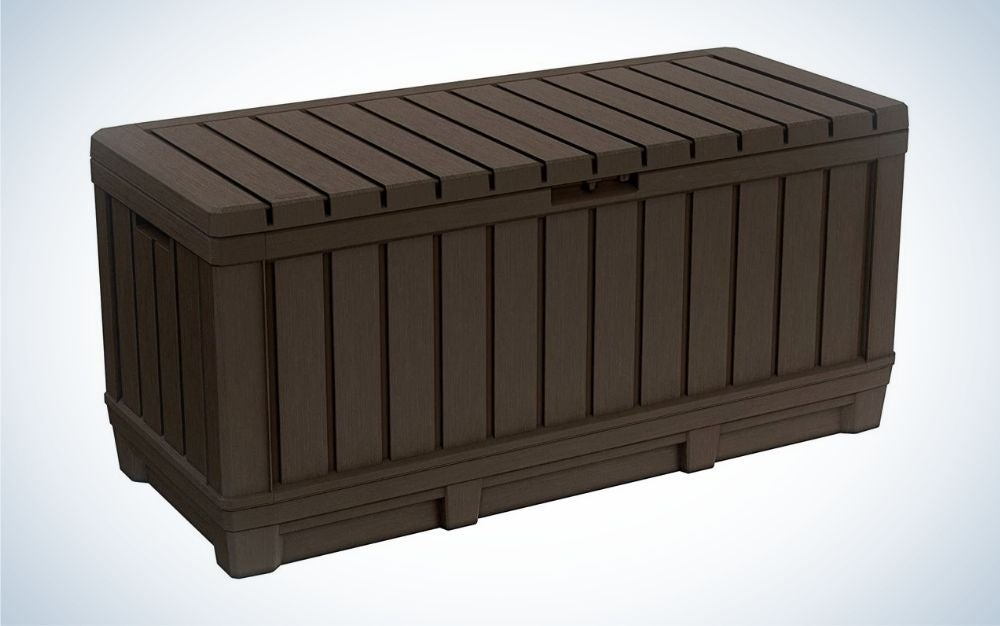The Keter Kentwood 90 Gallon Resin Deck Box is the best for storage of outdoor kitchen accessories.