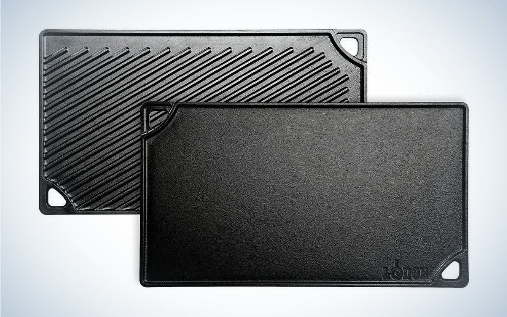 The Lodge Pre-Seasoned Cast Iron Reversible Griddle is the best value among outdoor kitchen accessories.