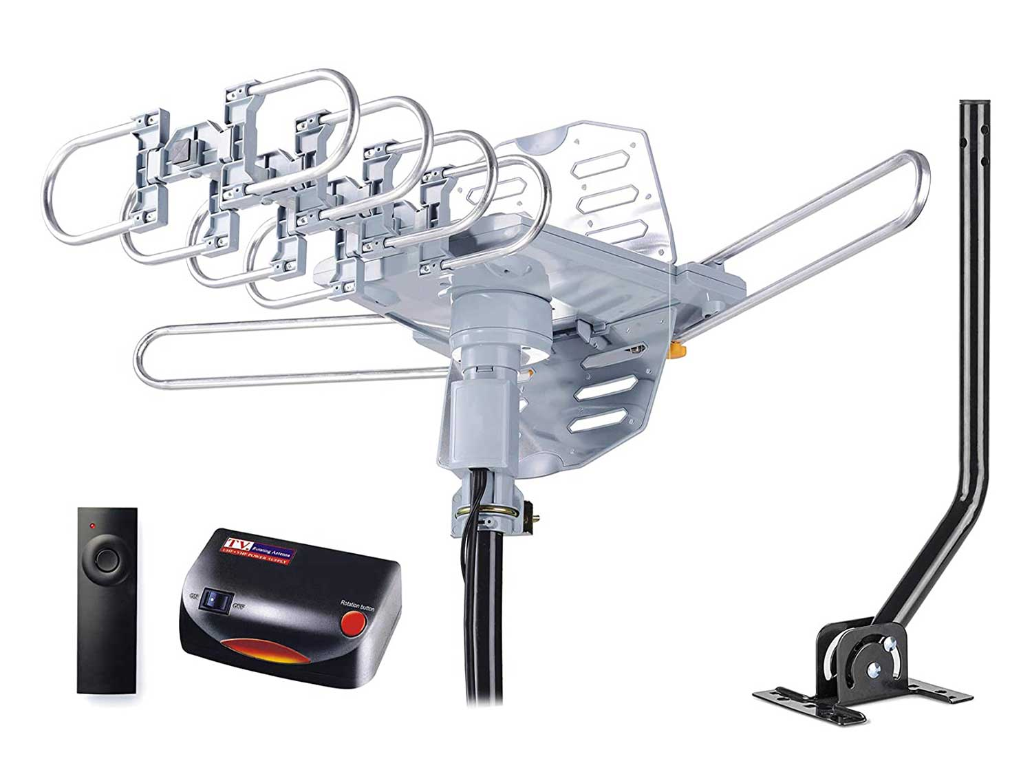 pingbingding HDTV Antenna Amplified Digital Outdoor Antenna with Mounting Pole & 40FT RG6 Coax Cable--150 Miles Range--360 Degree Rotation Wireless Remote--Snap-On Installation Support 2 TVs