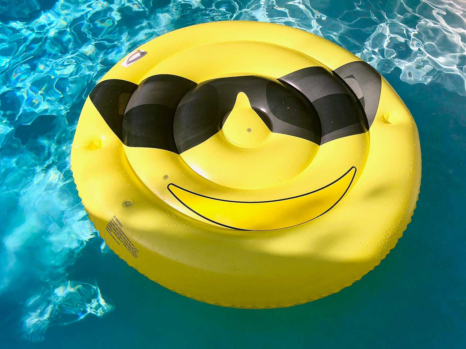 smiley face float in pool