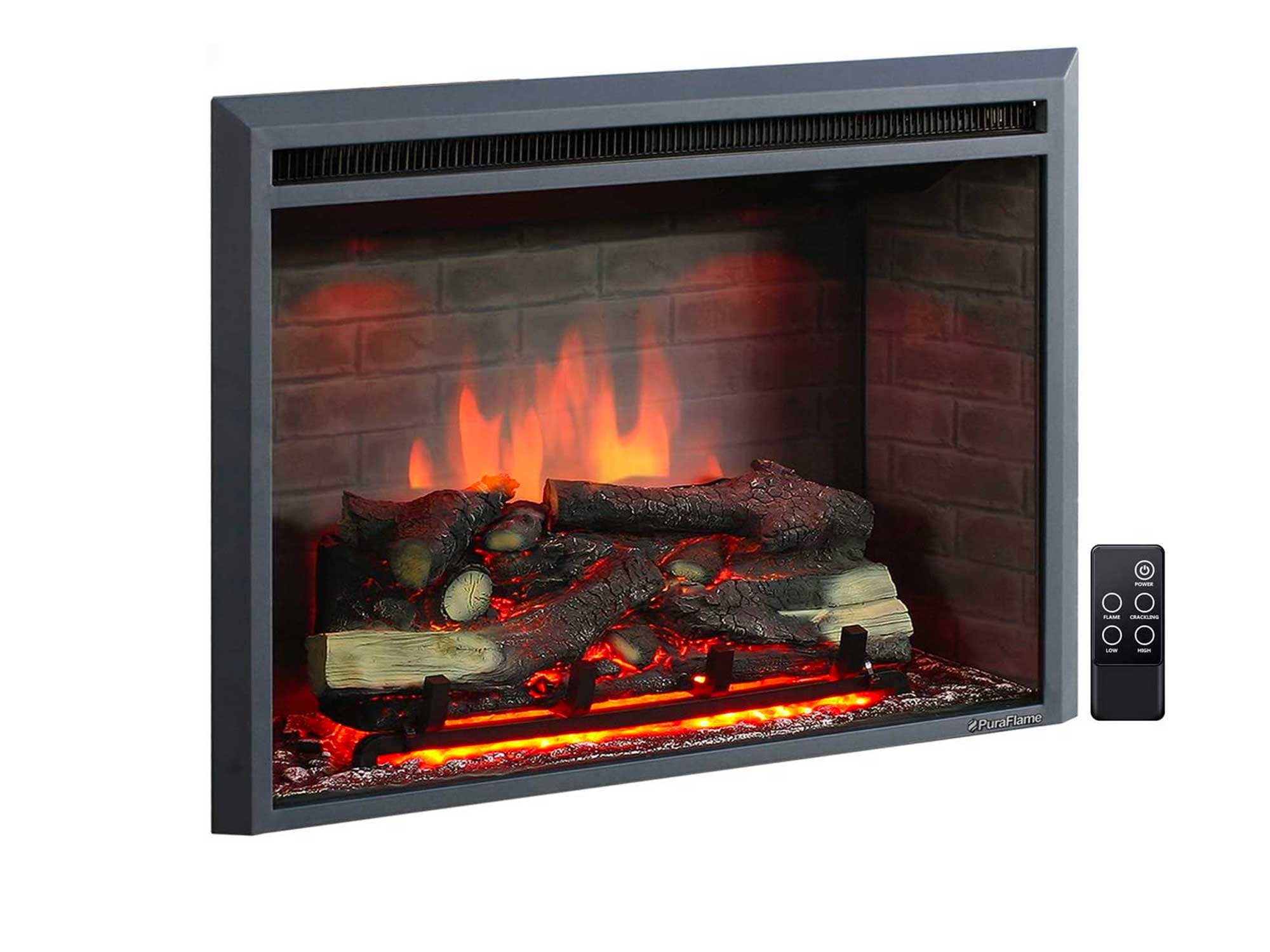 PuraFlame 33 Inches Western Electric Fireplace Insert with Fire Crackling Sound, Remote Control, 750/1500W