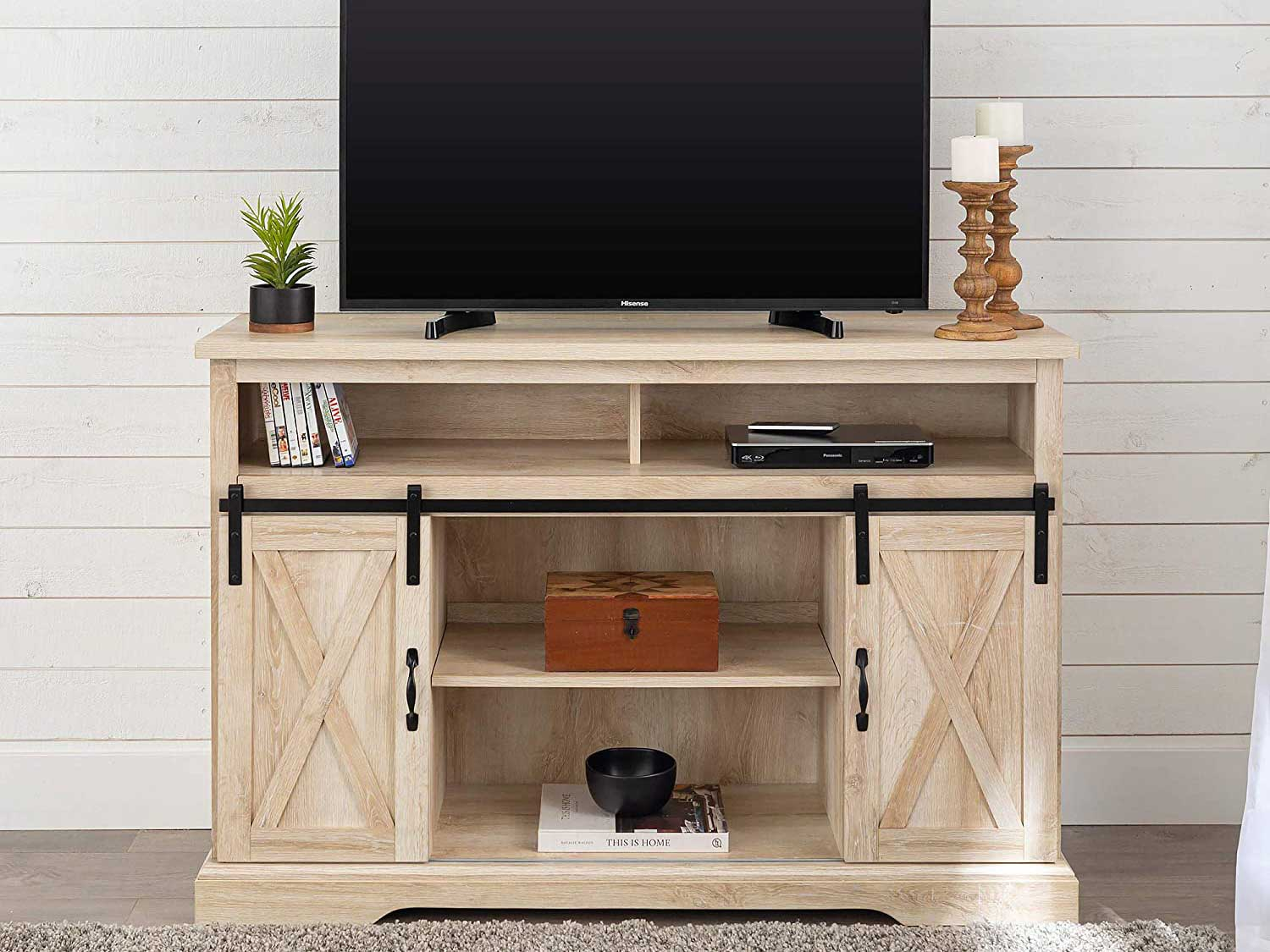 Walker Edison Furniture Company Modern Farmhouse Sliding Barndoor Wood Tall Universal Stand for TV's up to 58