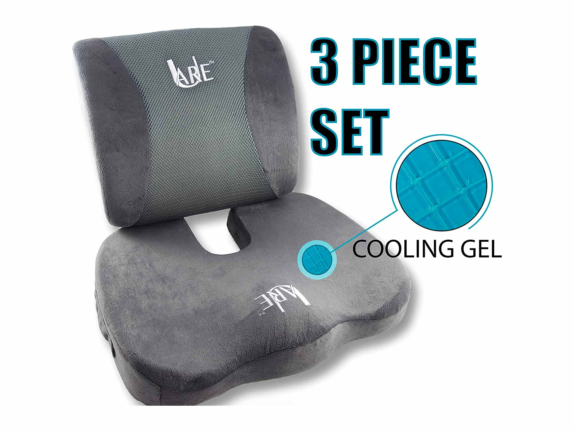 Cool Gel Memory Foam Seat Cushion with Rain Cover and Lumbar Support Pillow for Office Chair and Car Seat Cushions - Ultimate Comfort Set Relieves Back Pain, Tail Bone Pain, Sciatica Seat Cushion