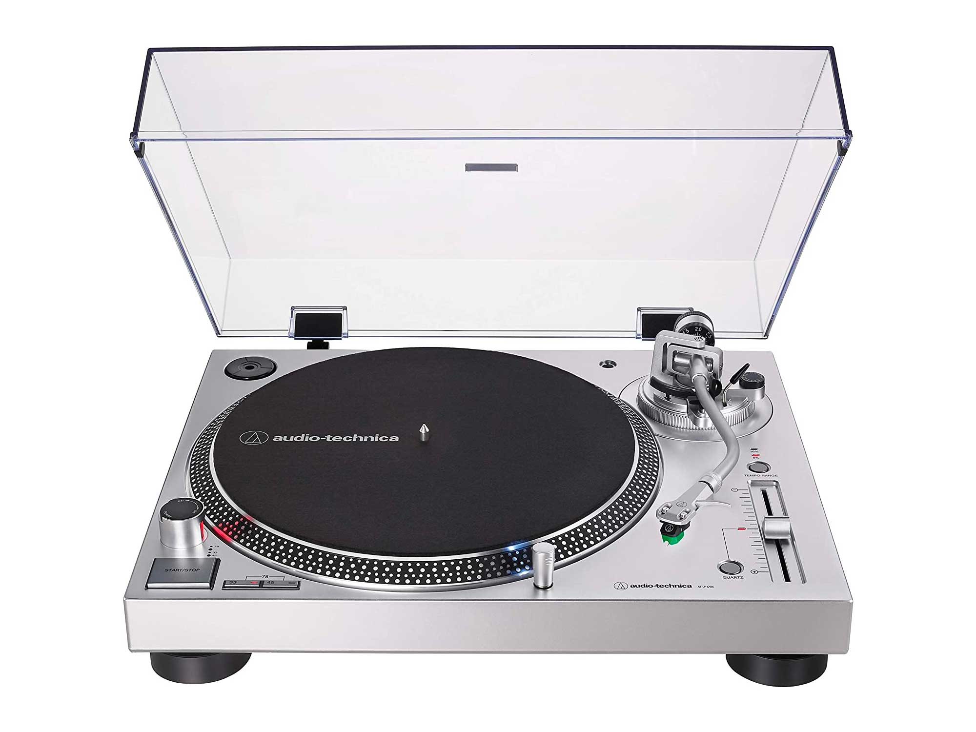 Audio-Technica Direct-Drive Turntable (Analog & USB), Silver, Fully Manual, Hi-Fi, 3 Speed, Convert Vinyl to Digital, Anti-Skate Control, Variable Pitch Control