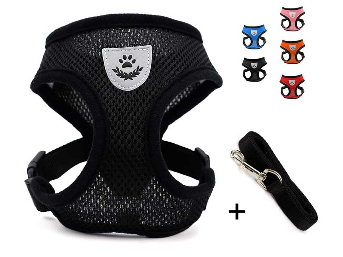 INVENHO Mesh Harness with Padded Vest for Puppy and Cats No Choke Design Ventilation Gift with Leash