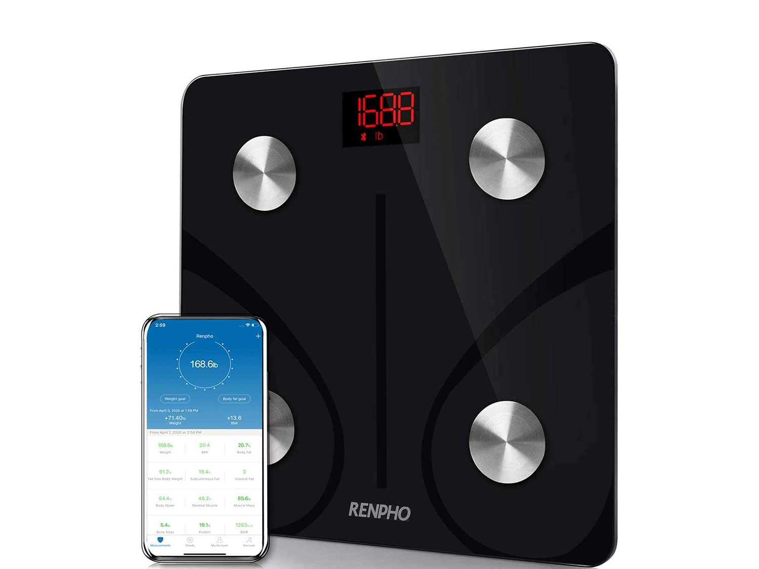 RENPHO Bluetooth Body Fat Scale Smart BMI Scale Digital Bathroom Wireless Weight Scale, Body Composition Analyzer with Smartphone App