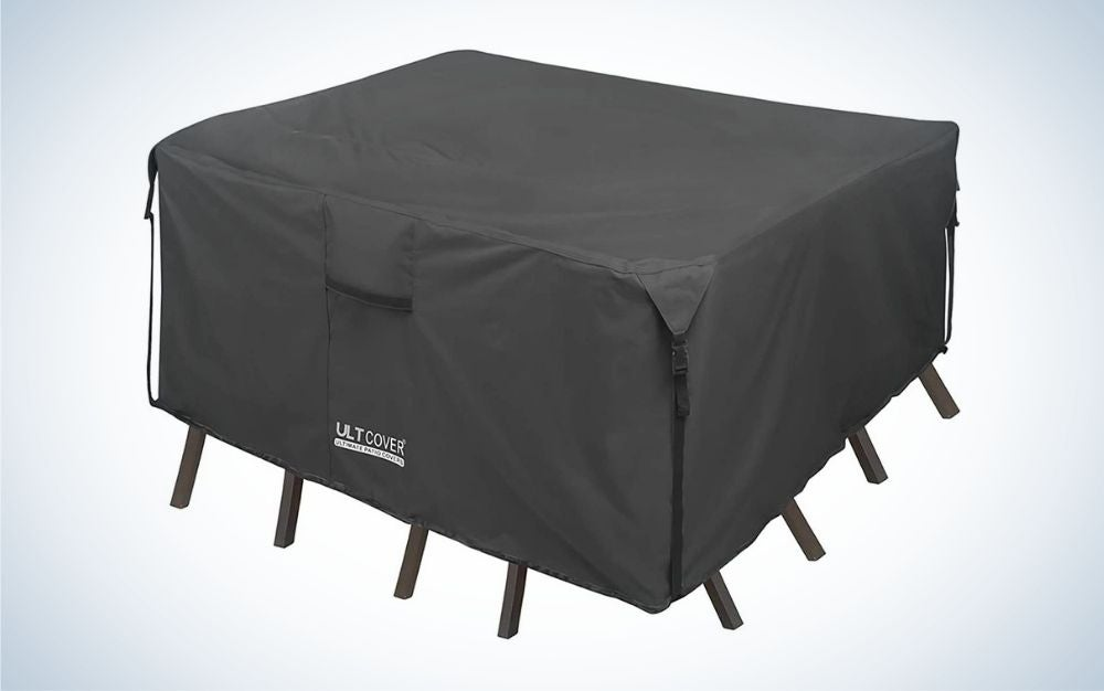 ULTCOVER 600D Tough Canvas Durable Square Patio Table and Chairs Cover is the best waterproof patio furniture cover.