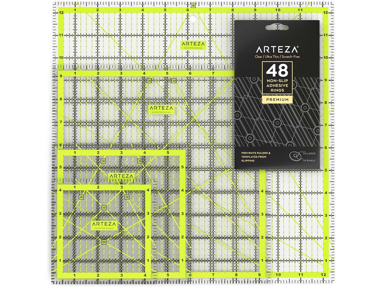 ARTEZA Acrylic Quilters Ruler & Non Slip Rings - Double-Colored Grid Lines