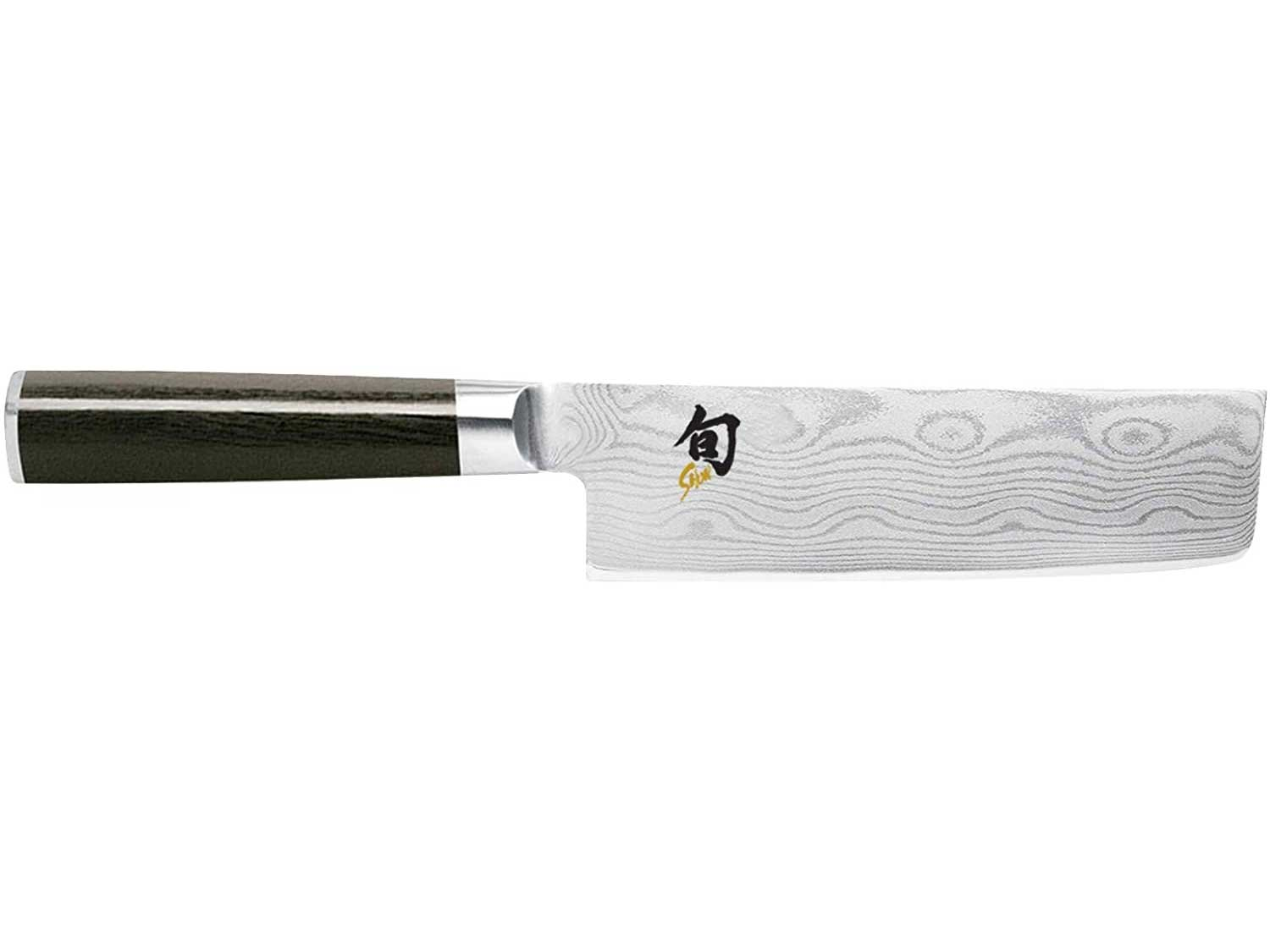 """Shun Cutlery Classic 6.5"""" Nakiri Knife; Kitchen Knife Handcrafted in Japan; Hand-Sharpened 16° Double-Bevel Steel Blade for Swift and Easy Precision Work; Beautiful D-Shaped Ebony PakkaWood Handle"""