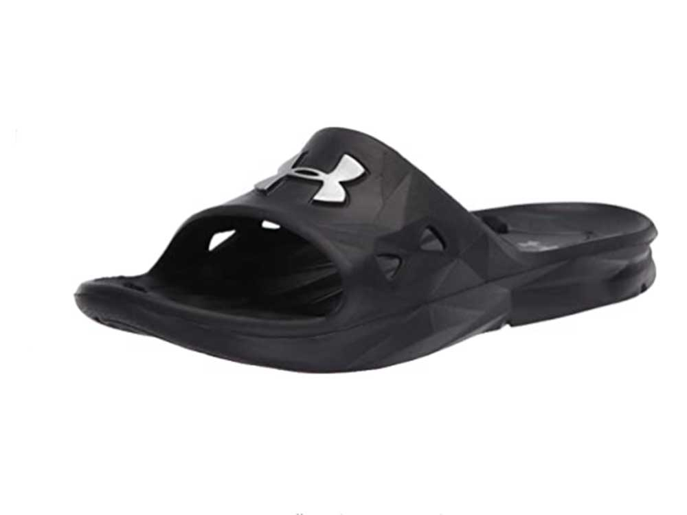 Under Armour Men's Locker III Slide Sandal, Black (001)/Metallic Silver, 7