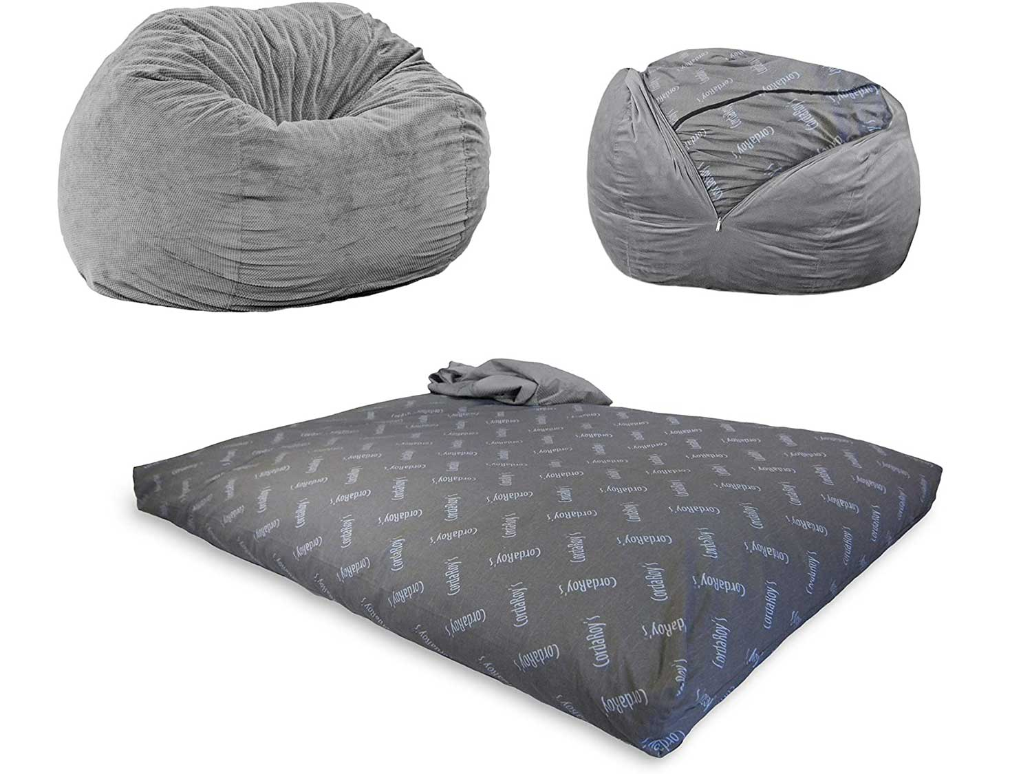CordaRoy's - Charcoal Chenille Convertible Bean Bag Chair - Full