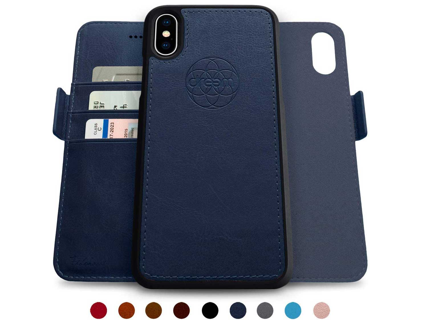 Dreem Fibonacci 2-in-1 Wallet-Case for iPhone X & Xs, Magnetic Detachable Shock-Proof TPU Slim-Case, RFID Protection, 2-Way Stand, Luxury Vegan Leather, Gift-Box - Royal