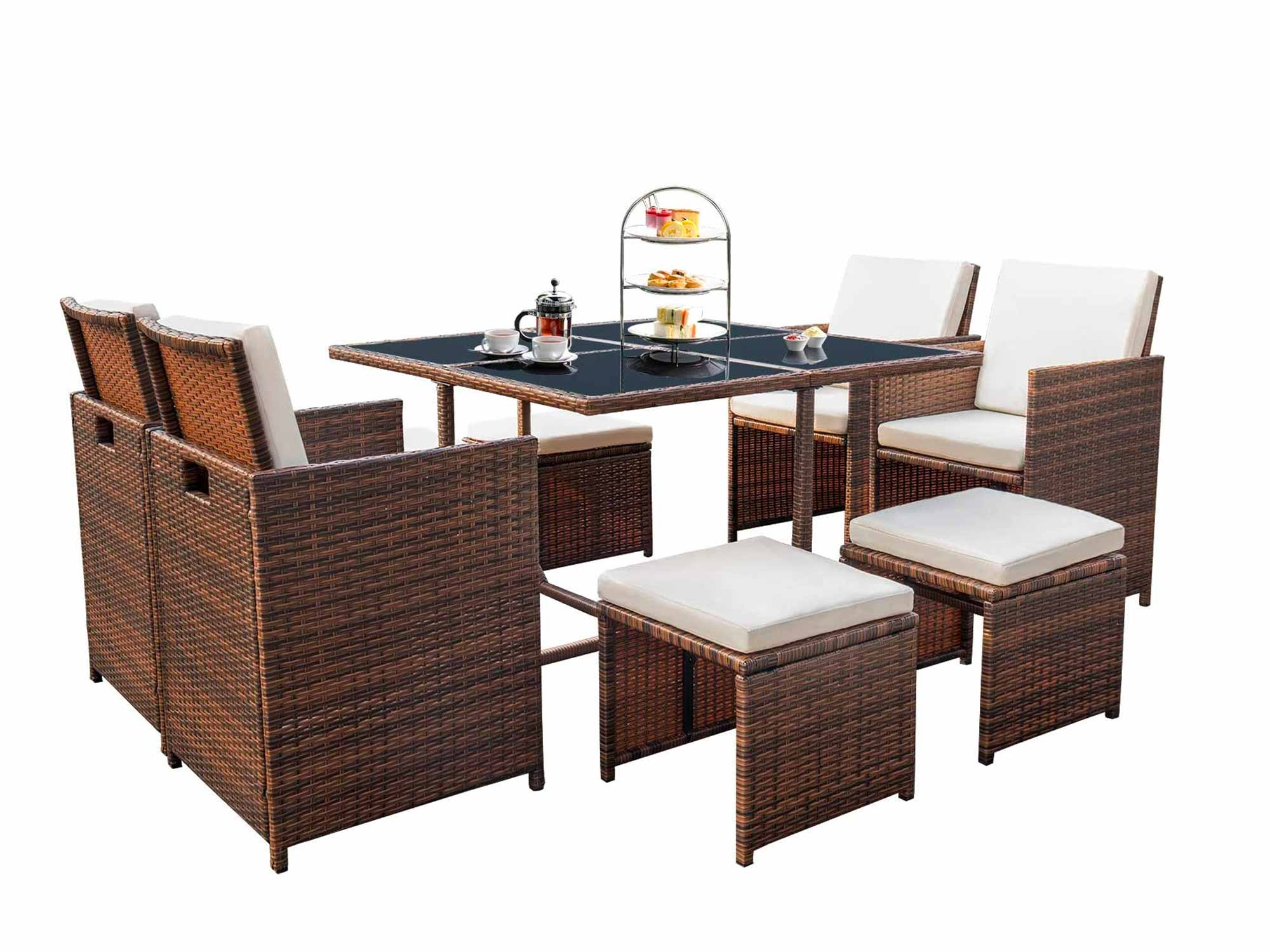 Devoko 9 Pieces Patio Dining Sets Outdoor Space Saving Rattan Chairs with Glass Table Patio Furniture Sets Cushioned Seating and Back Sectional Conversation Set
