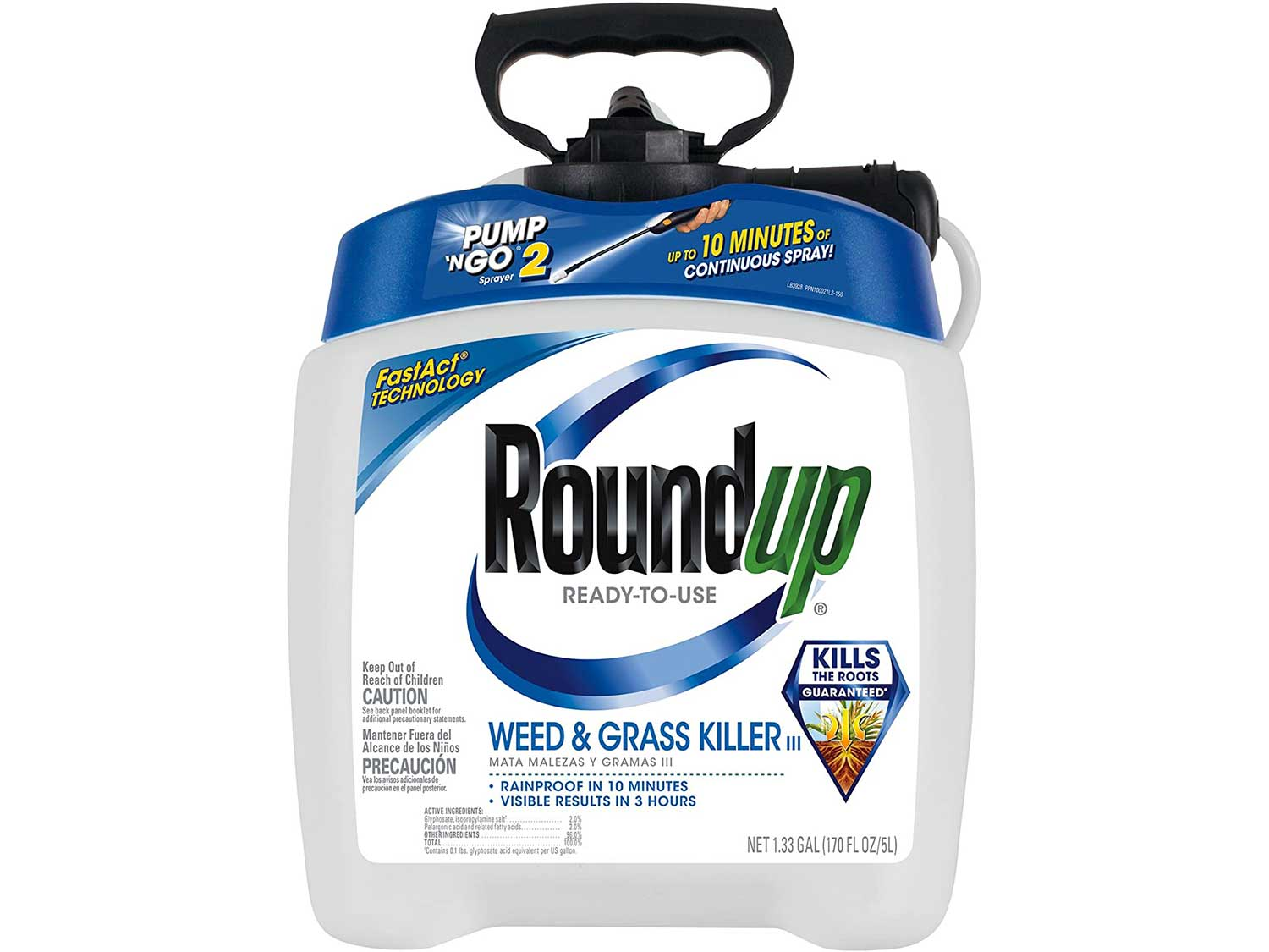 Roundup Ready-To-Use Weed & Grass Killer III – with Pump 'N Go 2 Sprayer, Use in & Around Vegetable Gardens, Tree Rings, Flower Beds, Patios & More, Kills to the Root, 1.33 gal
