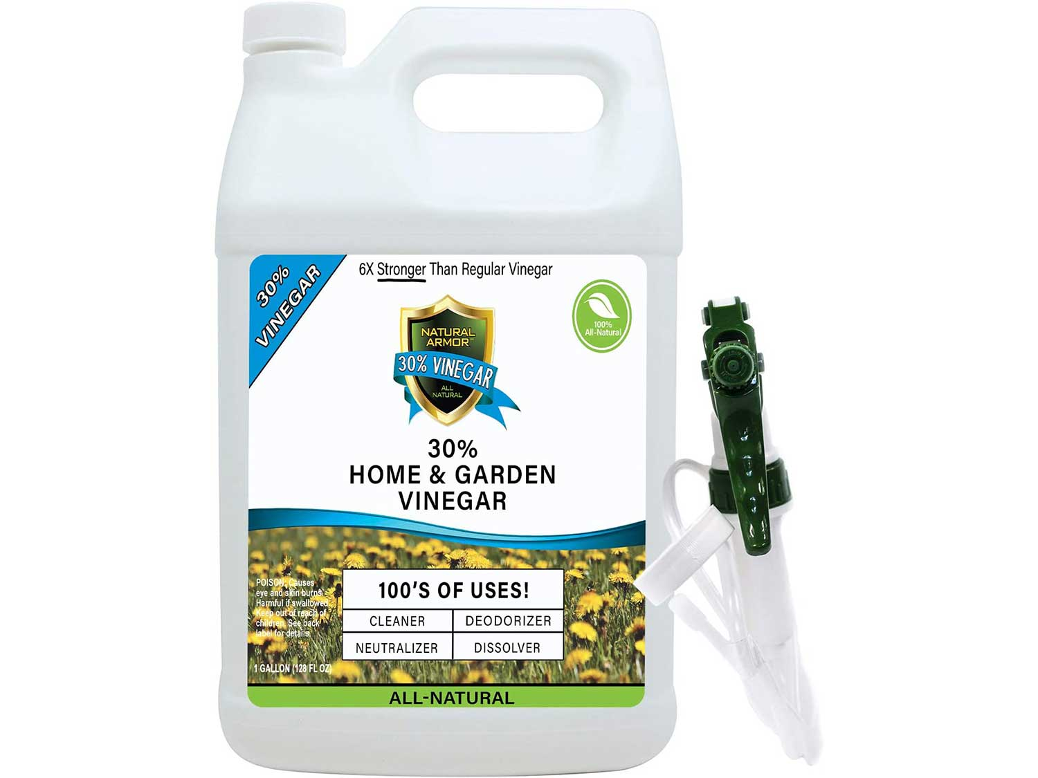 30% Vinegar Pure Natural & Safe Industrial Strength Concentrate for Home & Garden & Literally Hundreds of Other Uses 6X Stronger Than Regular Vinegar (128 Oz Gallon)