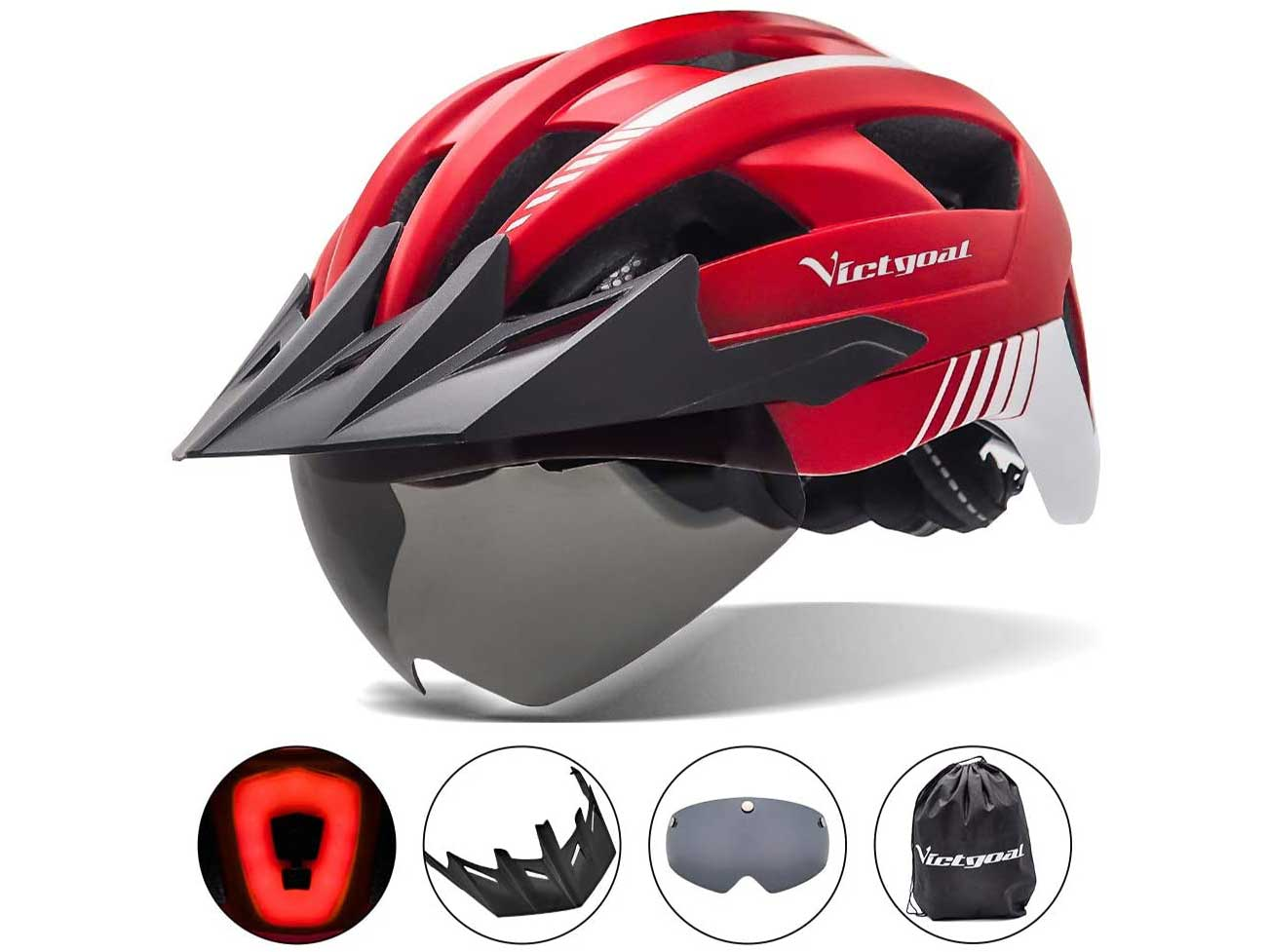 VICTGOAL Bike Helmet with USB Rechargeable Rear Light Detachable Magnetic Goggles Removable Sun Visor Mountain & Road Bicycle Helmets for Men Women Adult Cycling Helmets