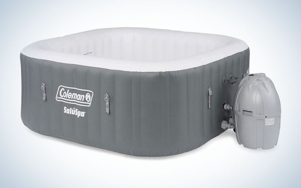 The Coleman 15442 BW SaluSpa is the best inflatable hot tub that's square.