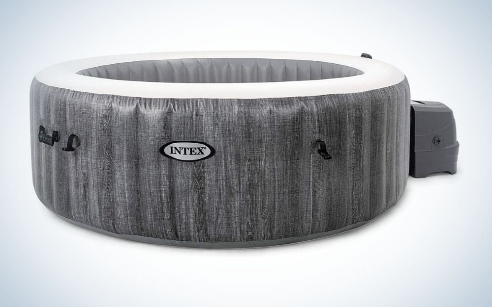The Intex PureSpa Greywood Deluxe is the premium pick of the best inflatable hot tubs.