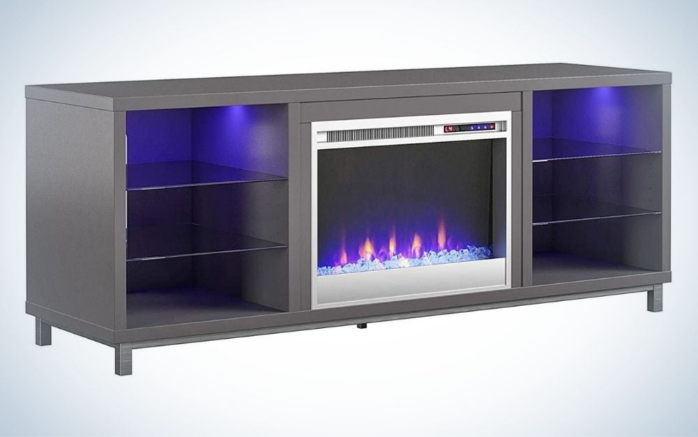 The Ameriwood Home Lumina Fireplace Stand for TVs is the best 2-in-2 fake fireplace and TV stand.