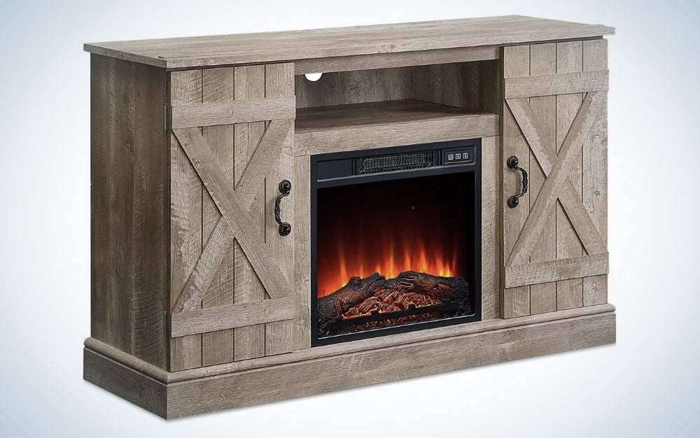 The Belleze Industrial Rustic Electric Fireplace, TV Stand, and Media Entertainment Center is the best rustic fake fireplace.