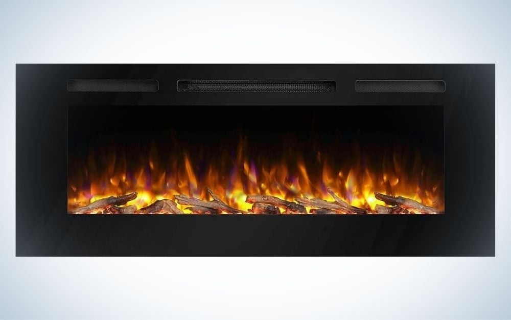 The PuraFlame Alice Recessed Electric Fireplace is the best fake fireplace overall.