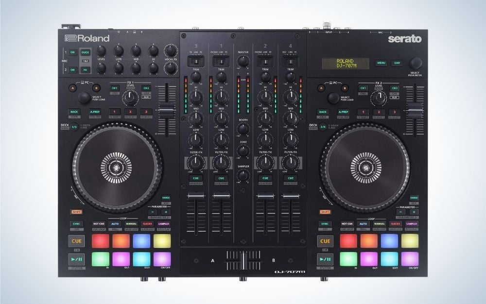The Roland DJ-707M Four-Channel is the best DJ controller for mobile DJs.