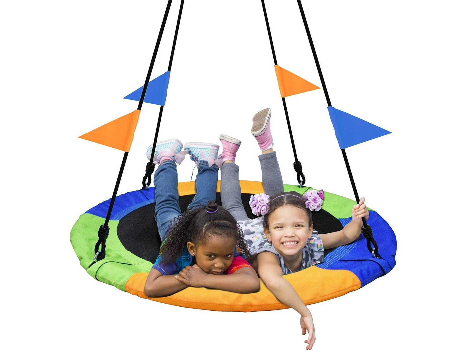 PACEARTH 40 Inch Saucer Tree Swing Flying 660lb Weight Capacity 2 Added Hanging Straps Adjustable Multi-Strand Ropes Colorful Safe and Durable Swing Seat for Children Adults