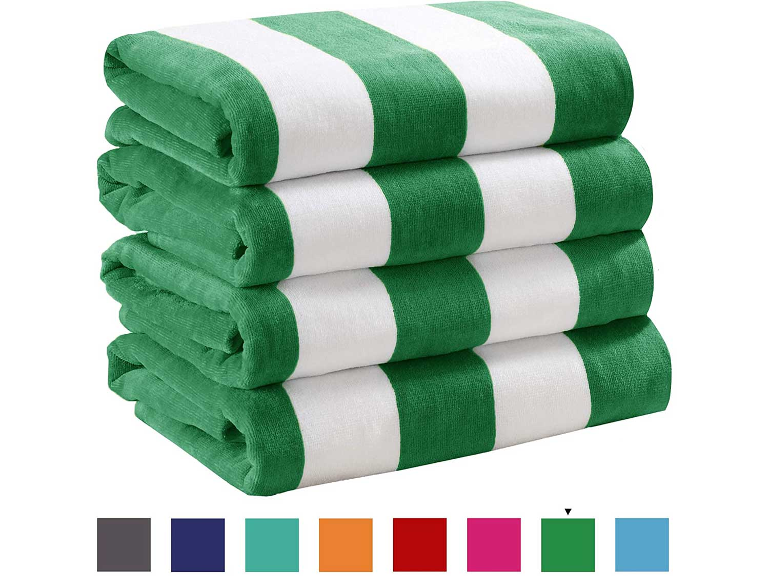 4 Pack Plush Velour 100% Cotton Beach Towels. Cabana Stripe Pool Towels for Adults. (Green, 4 Pack - 30