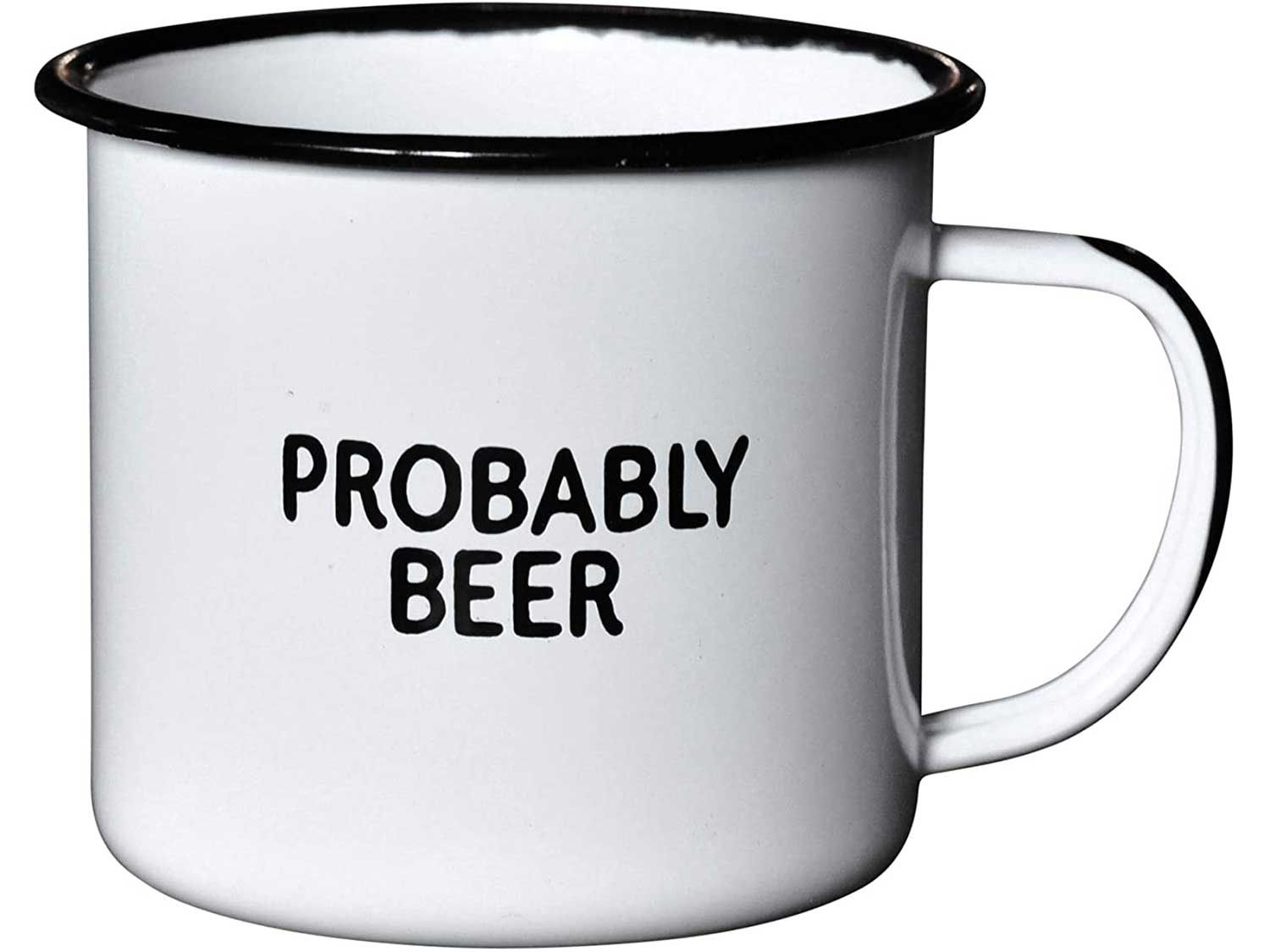 PROBABLY BEER   Enamel Coffee Mug   Funny Home Bar Gift for Beer Lovers, Homebrewers, Men, and Women   Cool Cup for the Office, Kitchen, Campfire, and Travel