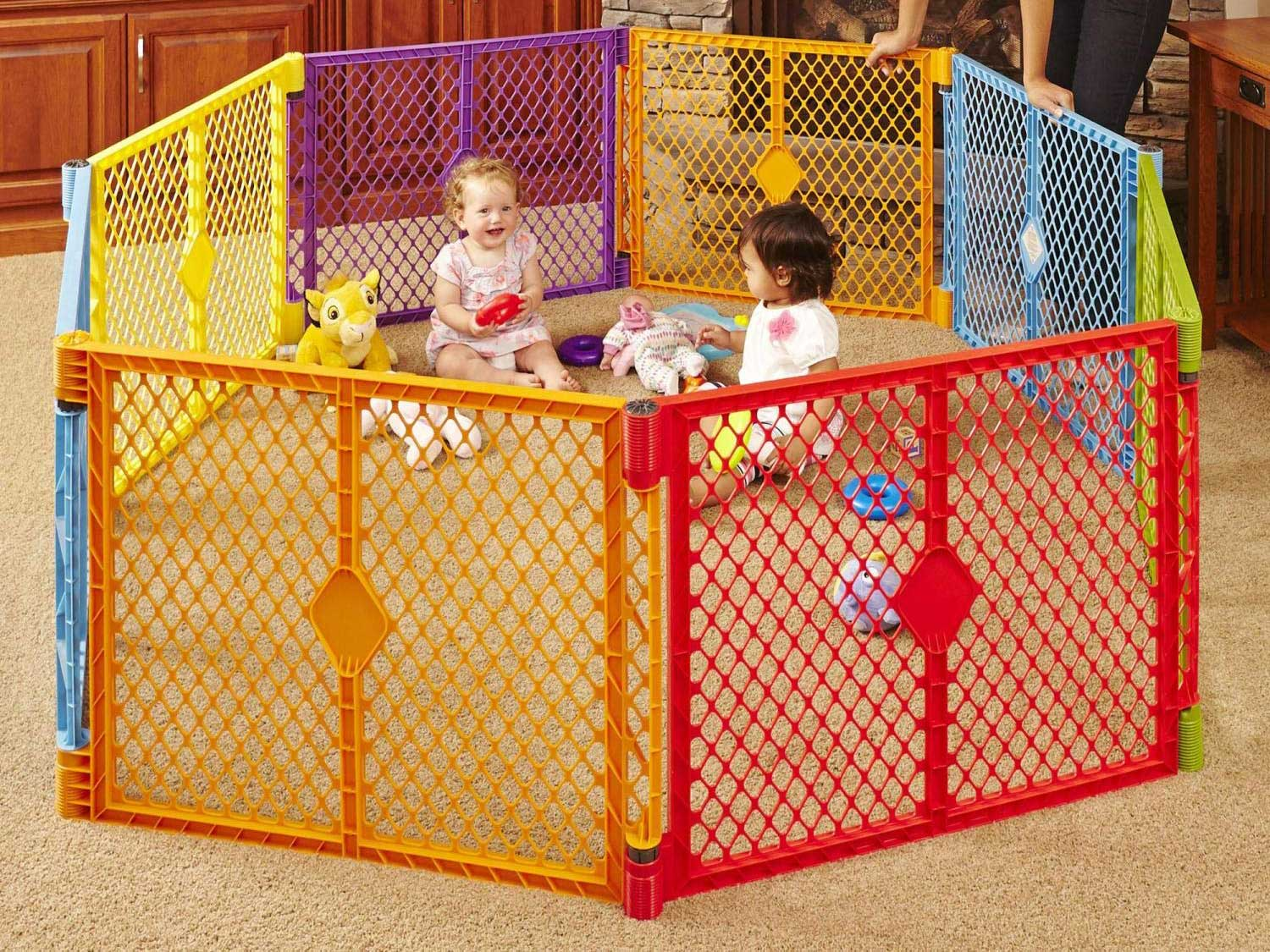 Toddleroo by North States Superyard Colorplay 8 Panel Baby Play Yard: Safe play area anywhere. Folds up with carrying strap for easy travel. Freestanding. 34.4 sq. ft. enclosure (26