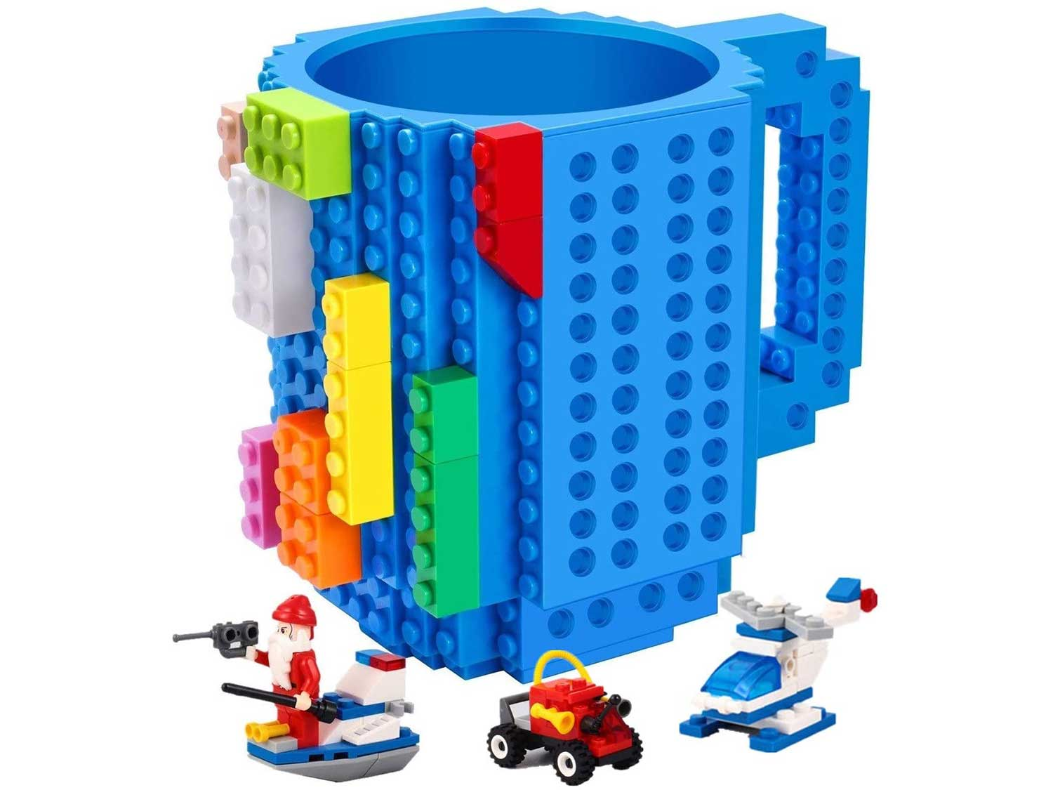 Build-on Brick Mug,with 3 packs of Blocks,Compatible with Lego,Creative DIY Building Blocks Cup for Water Juice,Fun Coffee Mugs Unique Puzzle Cups,Novelty Kids Party Cup for All Festival,by Triumphic