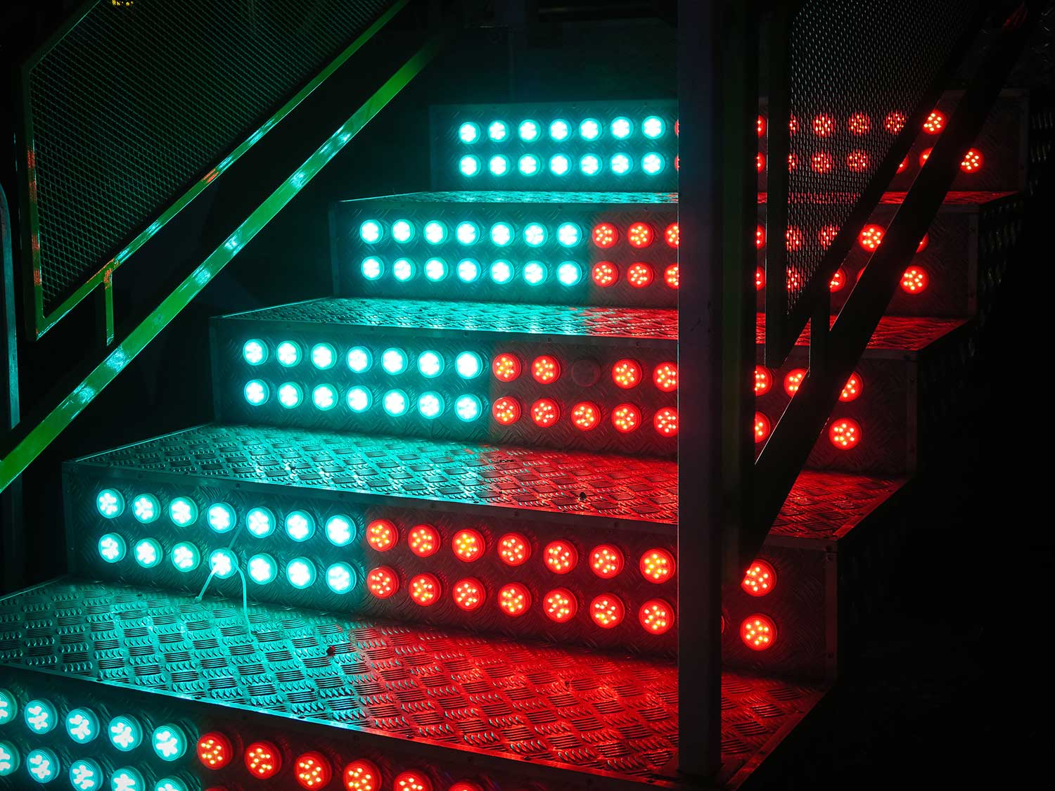 Stairs lit up with LED strips.