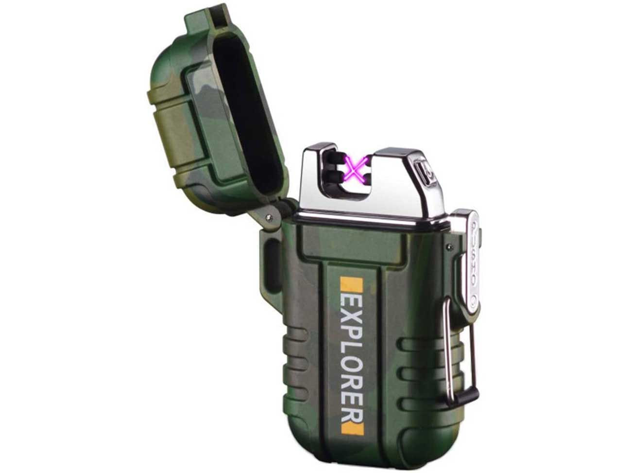 lcfun Waterproof Lighter Outdoor Windproof Lighter Dual Arc Lighter Electric Lighters USB Rechargeable-Flameless-Plasma Lighter for Cigarette,Camping,Hiking,Outdoor Adventure,Survival Tactical